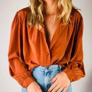 VINTAGE Rust Long Sleeve Button Down Collared Top